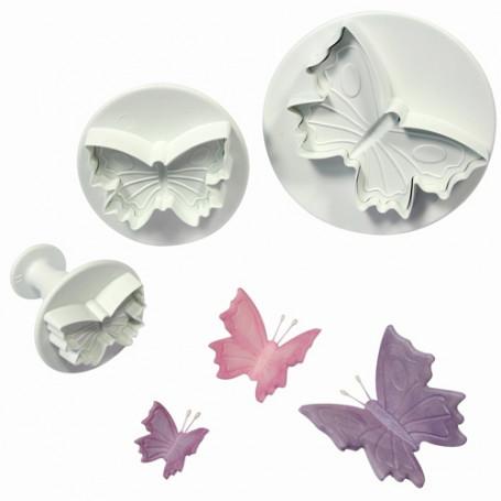Lot de 3 emportes pieces A piston Papillons  avec veinage de PME