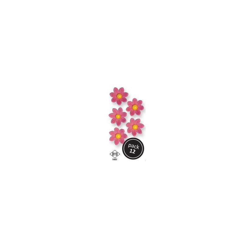Fleur en sucre marguerite rose X12