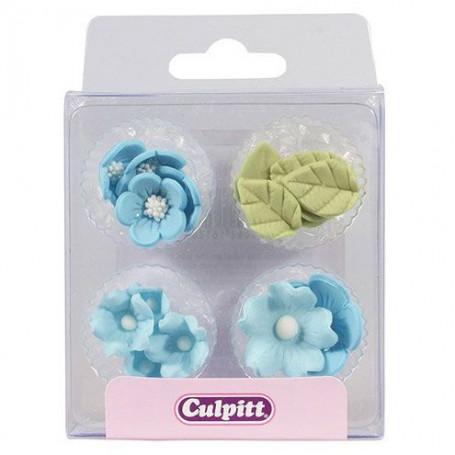 deco en sucre feuille et fleur bleu