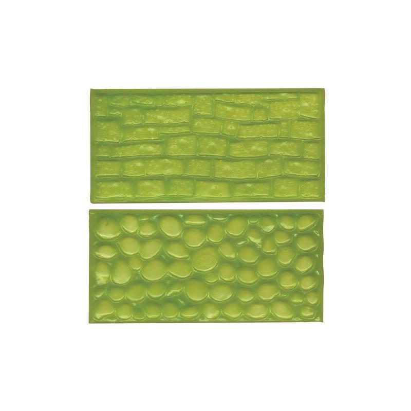 2 emportes pieces effet galets, pierre, croco, pave